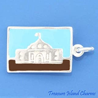 The Alamo SAN Antonio Texas Enamel Tour Postcard 925 Sterling Silver Charm Crafting Key Chain Bracelet Necklace Jewelry Accessories Pendants