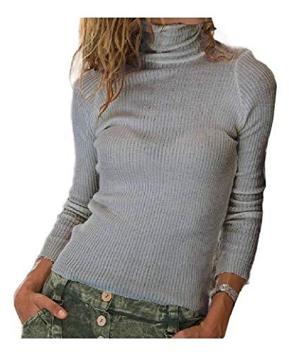 Damen Slim Fit Bluse Herbst Winter Freizeit Stricken Einfarbig T-Shirt Top Gr....