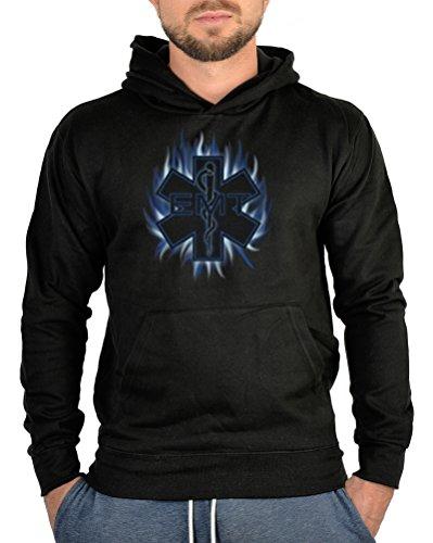 Feuerwehr Motiv Kapuzen Pullover Rettungsdienst Hoodie Kapuzenshirt : Emergency -- bedruckter Hoodie Größe L Farbe schwarz