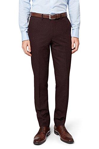Moss London Men's Skinny Fit Oxblood Donegal Suit Pants 32R Dark Red