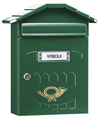 Arregui Villa E5003 Buzón Individual de Acero, tamaño M (DIN A4), Verde, 360 X 298 X 120 mm
