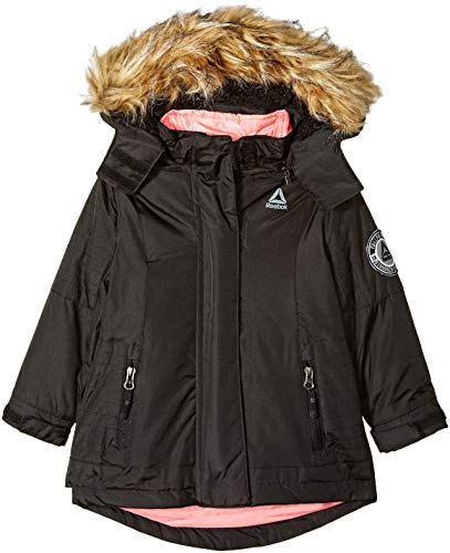 Reebok Girls' Toddler Active Systems Jacket with Faux Fur, Black Pop, 2T