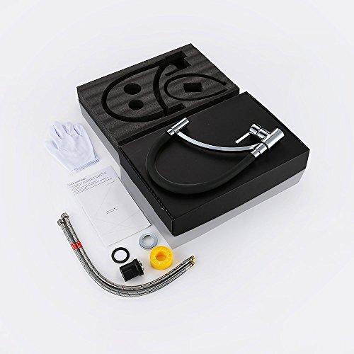 Homelody Schwarz Wasserhahn Küche Küchenarmatur Armatur Spüle Mischbatterie Einhebel Spültischarmatur Spiralfederarmatur - 5