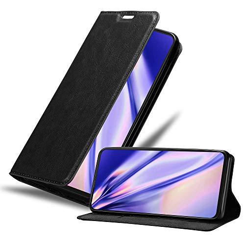 Cadorabo Hülle kompatibel mit Motorola One Hyper in Nacht SCHWARZ - Handyhülle mit Magnetverschluss, Standfunktion & Kartenfach - Hülle Cover Schutzhülle Etui Tasche Book Klapp Style