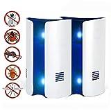 ZEERKEER Ultrasonic Pest Repeller Multi-Tech Electromagnetic Wave Control de luz de la noche doble para mosquitos y pulgas Ratas Cucarachas Roedores, Seguro para niños y mascotas (2 piezas)