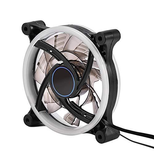 Exliy Ventilador de enfriamiento, Ventilador de Caja de PC LED RGB, Ventiladores de enfriamiento de luz Ajustable, 16 Colores de luz, 4 Modos de luz