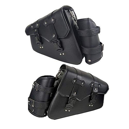 Garneck Motorcycle Swingarm Bag with Metal Buckle Swing Arm Bag for Sportster Night Rod Special Honda Shadow Yamaha (Left Side Quickily Disassemble Buckle Style Black)