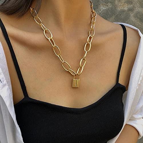 Collares con Colgante de Color Dorado Grande, Collar de Bloqueo de Cadena de eslabones de Marca, Collar, Collar de Mujer, Colgante de Collar