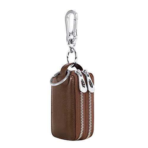 Echtes Leder Schlüsseltasche Doppelreißverschluss Schlüsseletui Schlüsselhalter Kasten Mappen Schlüsselanhänger Münzen-Geldbeutel Key case Braun