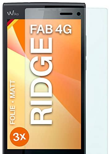 moex Schutzfolie matt kompatibel mit Wiko Ridge Fab 4G - Folie gegen Reflexionen, Anti Reflex Bildschirmschutz, Matte Bildschirmfolie - 3X Stück