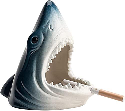Cenicero de cerámica con forma de tiburón a prueba de viento para cigarrillos, para casa, oficina, bar, accesorios decorativos para fumar, regalo creativo, azul