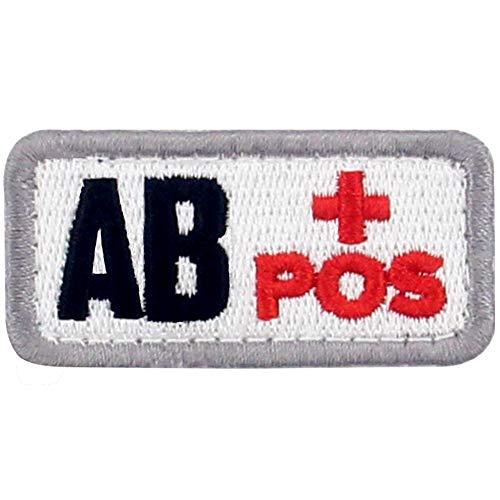 Tipo AB positivo Tipo de sangre táctico Broche Bordado de Gancho y Parche de Gancho y bucle de cierre, Rojo y Negro
