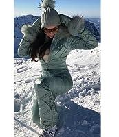 女性のスキーウェアフード付き毛皮の襟暖かい綿の服アウトドアスポーツパンツジャンプスーツオーバーオール冬のアウトドア防水スノースポーツウェア