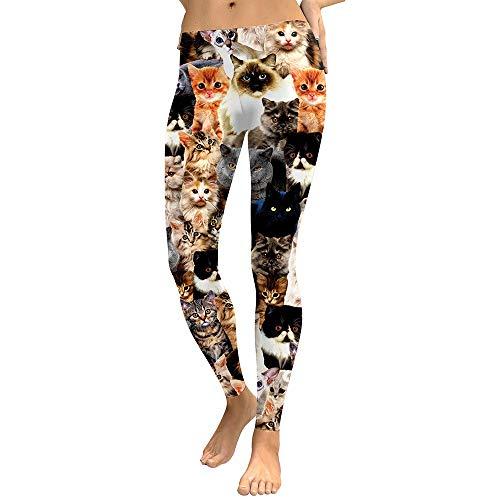 Tanxinxing Moda para mujer Animales pequeños Gato Gatito Naranja Estampado negro vistiendo Sexy Leggings delgados Casual Cinturón con hebilla Patrón Gato Colorido Leggings Pantalones de yoga Mallas De