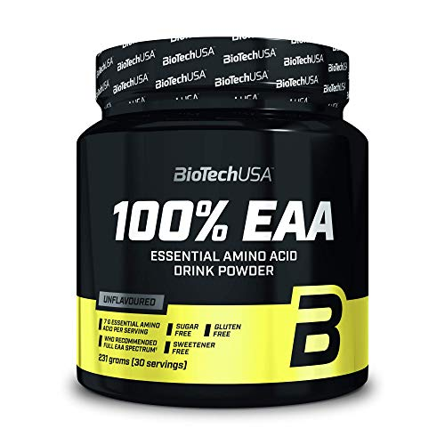 BioTechUSA 100% EAA, Integratore alimentare in forma di bevanda in polvere contenente aminoacidi essenziali, senza edulcoranti, aromi e coloranti, 231 g