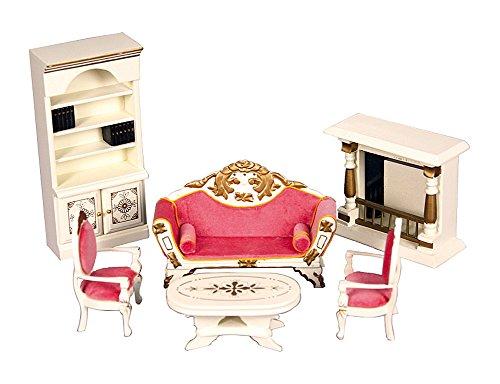 Conjunto salon con chimenea 6 piezas en madera lacada en blanco hueso. Escala 1/12. Apto para todas las casas de muñecas estandar