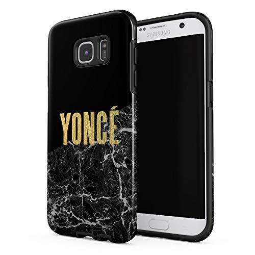 Funda Para Samsung Galaxy S7 Edge Golden Beautiful Girl Yonce Black Obsidian Onyx Marble Print, Resistente a los Golpes, Carcasa Dura de PC de 2 Capas + Funda Protectora de Diseño Híbrido de TPU