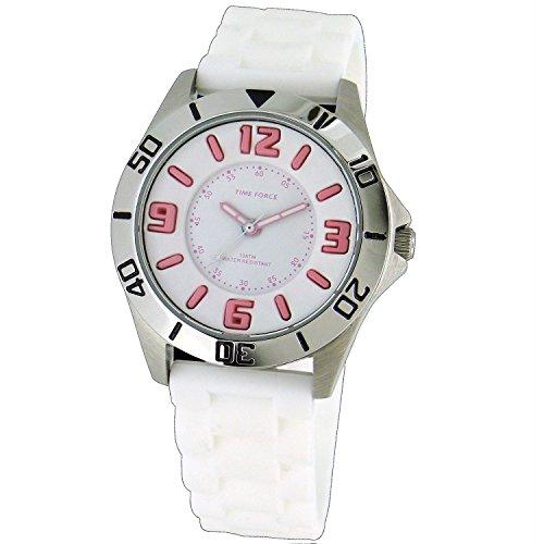 Time Force TF-4112B11 - Reloj analógico para Chica. Correa de Goma color Blanco.