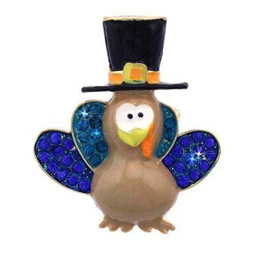 cocojewelry Pilgrim Hat Turkey Brooch Pin Necklace Pendant Thanksgiving Jewelry