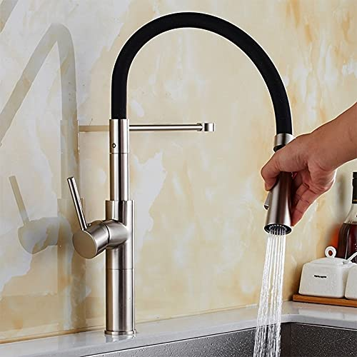 SDKFJ Grifo de Cocina de Tire de la Cubierta de la Cubierta, el Mezclador de grúa de Agua fría Caliente del níquel Cepillado, Grifo de Fregadero de Cocina con diseño de Goma (Color : Brush Nickel)