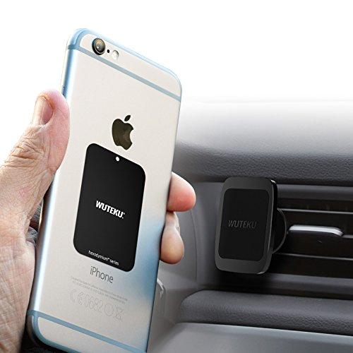 Wuteku Magnetische mobiele telefoon houder Kit Auto - Werkt op alle voertuigen, telefoons en tablets - Beste Vent Mount - Compatibel met iPhone XR, XS, X 8, 7 en Galaxy S9, S8 en meer - Top beoordeeld door Pro Drivers
