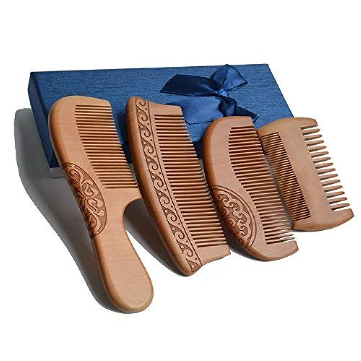 現実父方の専門用語4Pcs Wooden Hair Comb No Static Hair Detangler Detangling Comb with Premium Gift Box [並行輸入品]