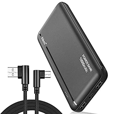 Portable Charger Power Bank 10000mAh - External Battery Pack with Dual USB Ports and USB-C Input, Compact High-Speed Charging Backup Phone Charger, Compatible for iPhone, Samsung, iPad, etc. (black)