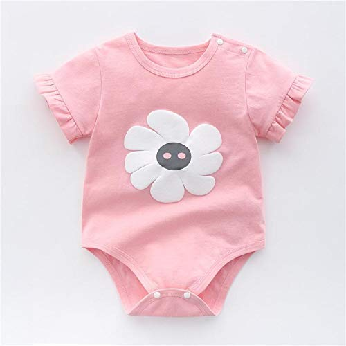 LiuQ Baby Strampler Neugeborenes Baby-Mädchen-Karikatur-Baumwollstrampler Baby-Baby-Tasche Fart Weste Overall Sommer-dünne Penguin Pyjamas Outfit (Color : Fenhuad, Kid Size : 24M)