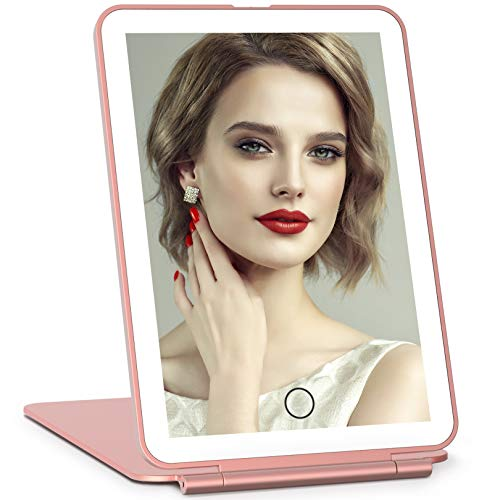 Rechargeable Lighted Makeup Vanity Mirror with 36 LED Lights, Light Up Makeup Mirror with Touch Sensor Dimming, Portable Tabletop Cosmetic Mirror (Rose Gold)