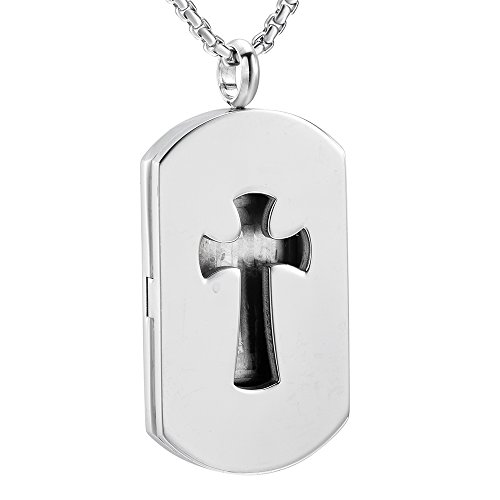 EternityMemory Cross & Dog Tag Stainless Steel Essential Oil Diffuser Locket Necklace for Men + Refill Pads