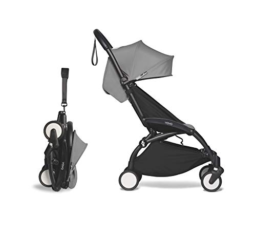 Babyzen YOYO2 Stroller - Black Frame with Grey Seat Cushion & Canopy