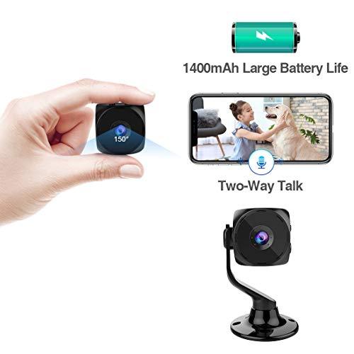 KEAN Mini Kamera WiFi HD Akku Kleine Wlan Überwachungskamera mit Aufzeichnung Zwei-Wege-Gespräch Innen Handy Mikro IP Kamera Bewegungserkennung und Speicher Micro Camera Infrarot Nachtsicht für Indoor