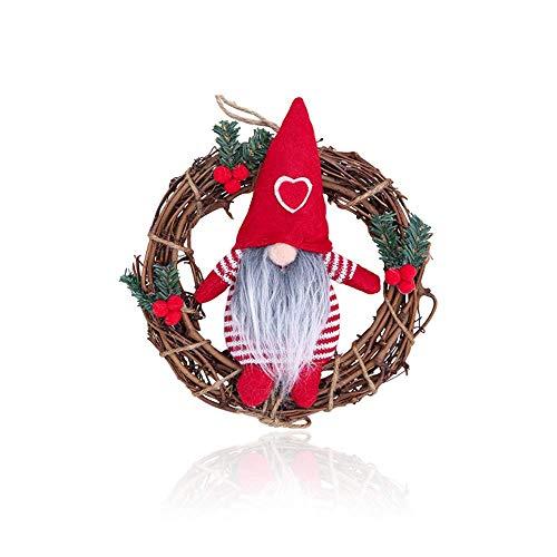 SANKESONG Ghirlanda Natalizia, Ghirlande Natalizie per Porta, Ghirlanda di decorazione per albero di Natale, Simpatica bambola del cattivo mago, Φ 22cm, per decorare porte, finestre, alberi di Natale