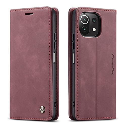 Lnobern シンプル ケース 対応 Xiaomi 11 Lite 5G ケース 手帳型 手触り感いい カード収納可能 Mi 11 Lite 5G case (For Mi11 lite 5G, ワインレッド)