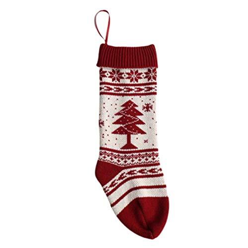 Nuevos adornos colgantes de lana copo de nieve árbol de Navidad bolsa de regalo calcetines decorativos bolsa de caramelo grande Medias de Navidad