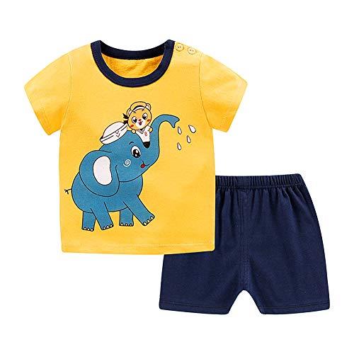 Atyhao Kleinkind Sommerkleidung, 2Stk Kleinkind Baby Jungen Mädchen Kleidung Solid Cartoon Muster Kurzes T-Shirt und Hose Kinder Outfit Shorts Hose 2Stk Sommer Outfits Set(90)
