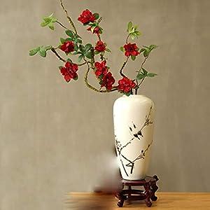 DSWJH Simulation of Rhododendron Flower Fake Flower, Ceramic Vase Silk Flower Home Decoration Chinese Zen Flower Arrangement Floral