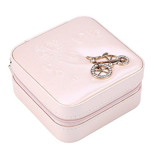 OIHODFHB Mini caja de joyería rosa cremallera pendientes de viaje collar anillo caja de almacenamiento ataúd bicicleta desnuda