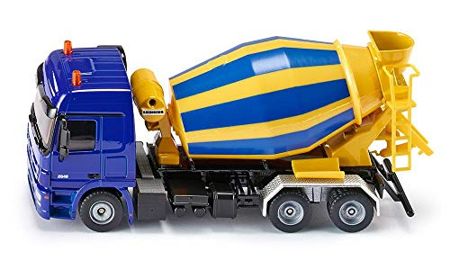 SIKU 3539, Fahrmischer, 1:50, Metall/Kunststoff, Gelb/Blau, Drehbare Trommel