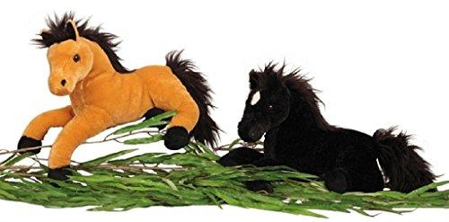 Geschenkestadl Plüschtier Pferd liegend in Schwarz ca. 37 cm lang Kuscheltier Stofftier