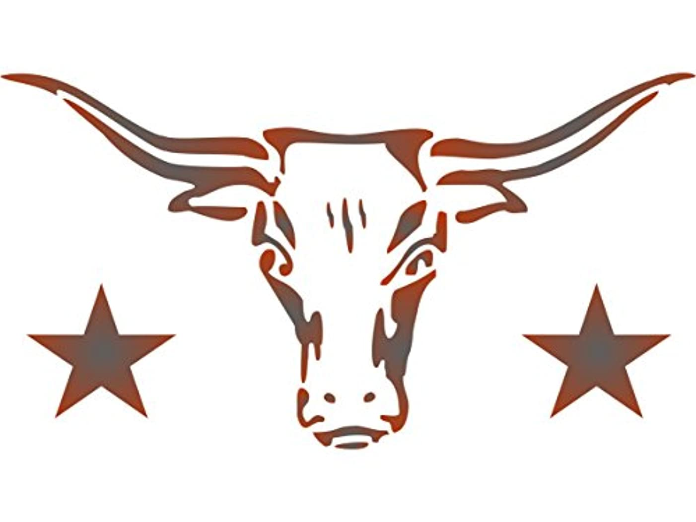 """Longhorn Stencil - (size 9.25""""w x 5""""h) - Reusable Cow Bull Skull Texas Farm Animal Stencils for Painting - Use on Paper Projects Scrapbook Journal Walls Floors Fabric Furniture Glass Wood etc."""
