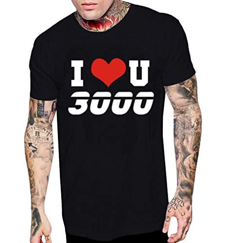 Männer Shirt Sommer I Love You 3000 Brief Gedruckt Muster LäSsig Revers Oansatz Mode Kurzarmshirts Schwarz M