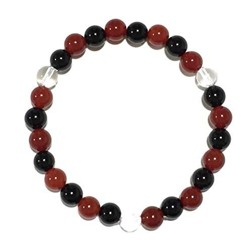 天然石 パワーストーン ブレスレット オニキス 赤瑪瑙 水晶 6mm (内径 約13cm)