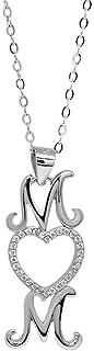 Collar de plata de ley 925 para mamá, collar de plata, collar con colgante de mamá, collar de plata con circonita cúbica d...