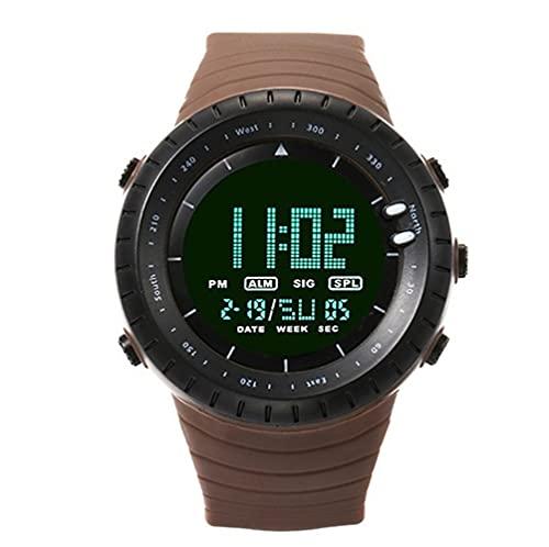 ZXMD Reloj Deportivo al Aire Libre Impermeable montañismo Reloj electrónico Moda podómetro Digital de Moda (Color : Curry Color)