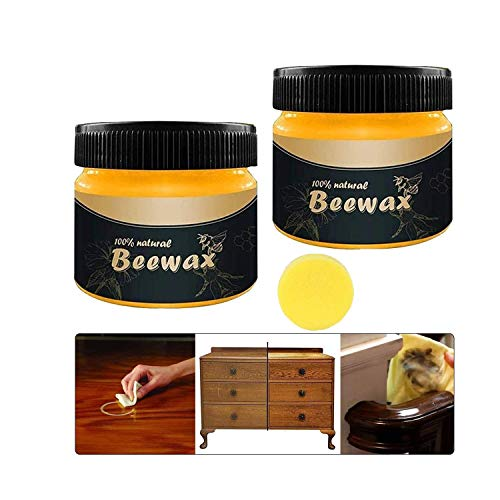 Wood Seasoning Beeswax Traditional Beeswax Polish for Wood & Furniture, All-Purpose Beewax for Wood Cleaner and Polish Wipes - Non Toxic for Furniture to Beautify & Protect (2 pcs)