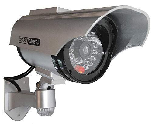 2X Überwachungskameras Solar Dummy Outdoor Kameras Dummy Kamera Attrappe mit Objektiv und Blinkled Videoüberwachung Warensicherung