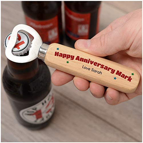 Anniversary Wooden Bottle Opener Gifts for Him - PERSONALISED Anniversary Gifts for Husband Boyfriend Men - 1st 2nd 5th 10th 25th Wood Anniversary Gifts - Anniversary Gifts for Couples