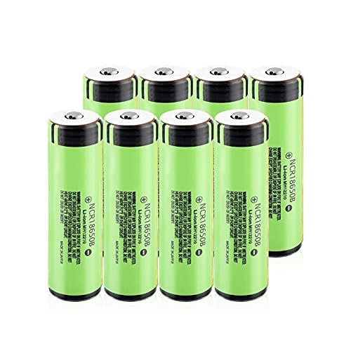 josiedf Batería De Iones De Litio De 3.7v 3400mah NCR18650B, Recargable para El Control Remoto del MicróFono del Faro del Banco De Energía 8Pcs