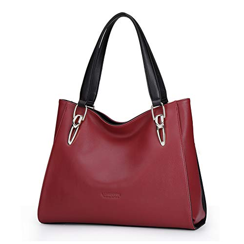 LAORENTOU Women's Leather Top-Handle bag Lady Shoulder Purse Cowhide Tote Handbag (Burgundy red)